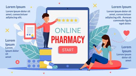 Online Pharmacy Mobile Application Infographic Poster. Happy Mother and Child Using Phone Medical App for Healthcare and Medication Remote Order Buy Delivery and Giving Positive Feedback Highest Rank