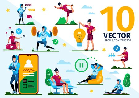 Man Outdoor Activity and Healthy Lifestyle Trendy Flat Vector Scenes Set. Sportsman Stretching and Doing Physical Exercises in Park, Messaging with Cellphone, Streaming Video Online Illustrations Stock Illustratie