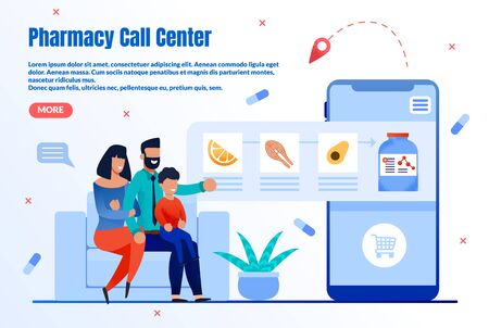 Pharmacy Online Helpdesk Trendy Flat Vector Web Banner, Landing Page Template. Happy Parents, Family Choosing and Buying Vitamins, Ordering Nutrition Supplements with Mobile Application Illustration