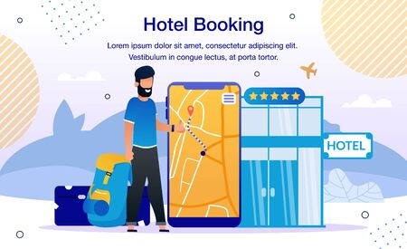 Hotel Room or Airline Tickets Booking Online Service or Mobile App Trendy Flat Vector Advertising Banner, Promo Poster Template. Traveling Man, Tourist Searching Hotels Location on Map Illustration