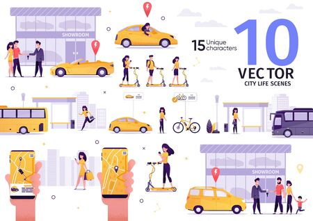 City Passenger Transport, People Transportation Trendy Flat Vector Scenes Set. Family Buying Car in Dealership, Man, Woman Riding Scooter, Lady Waiting Bus, Calling Taxi with Mobile App Illustrations Stock Illustratie
