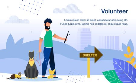 Volunteer Work in Shelter for Stray Animals, Rescuing Pets Trendy Flat Vector Banner, Poster Template. Male Volunteer, Man Walking in City Park with Homeless Dogs and Ferreting on Leash Illustration