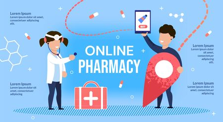 Children Doctor Pharmacist and Patient Characters Metaphor Design for Online Pharmacy Services. Safety High Quality Medications Pharmaceutical Drugs Offer. Remote Order and Payment from any Location