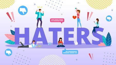 Haters Internet Trolling and Hate Speech. Cyberbullying and Bullying. Online Mockery. Smartphone Harassing People Using Phone for Flooding, Threatening and Intimidating. Aggression and Dislike Stock Illustratie