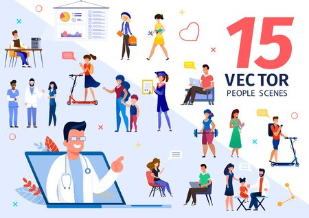 People Various Lifestyle Scenes and Situations Trendy Flat Vectors Set. University Students, Parent with Child Visiting Doctor, Clinic or Hospital Personnel, College Lecturer Characters Illustrations Illusztráció