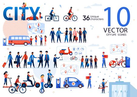 Businesspeople City Life Scenes, Ecological Urban Transport, Traveling People Trendy Flat Vectors Set. Handshaking Businessmen, Citizens Riding Scooter, Bicycle and Self-Balancing Wheel Illustrations
