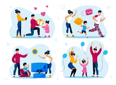 Family Party, Holiday Celebrations and Kids Discipline Trendy Flat Vector Concepts Set. Parents with Children Running and Fooling Around, Playing Video Games, Celebrating Holiday Together Illustration Stock Illustratie