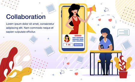 Beauty Bloggers Collaboration Banner, Poster Template. Popular Woman Blogger Supporting and Helping Beginner to Engage Audience, Increase The Number of Subscribers Trendy Flat Vector Illustration