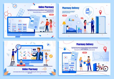 Online Drugstore Trendy Flat Vector Web Banners, Landing Pages Set. People Ordering Goods in Internet, Mother Buying Medicines for Sick Child, Customers Purchasing on Drugstore Webpage Illustration