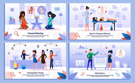 Happy Pregnancy, Pregnant Woman Recreation, Preparations Trendy Flat Vector Banner, Poster Set. Lady Talking with Friend, Buying Clothing, Decorating Room for Baby, Resting in Spa Salon Illustration Stock Illustratie