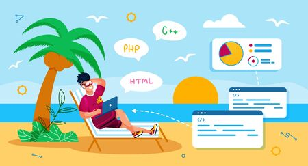 Distant Work in IT Industry Trendy Flat Vector Concept. Freelance Programmer, Software Developer Working on Beach, Using Laptop While Resting in Tropical Country, Relaxing at Seacoast Illustration