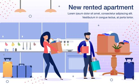 Comfortable Apartments for Long-Term Rent Trendy Flat Vector Advertising Banner, Promo Poster Template. Happy Couple, Wife and Husband Removing New Home, Carrying Boxes with Home Stuff Illustration