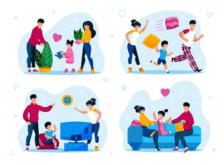 Happy Family Home Leisure and Relax Trendy Flat Vector Concepts Set. Parents with Children Fooling Around, Playing Video Games, Watering Plants at Home, Resting Together on Sofa Isolated Illustrations Stock Illustratie