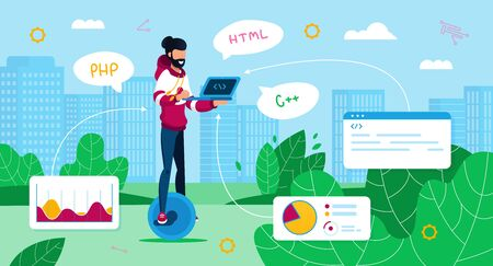 Freelance Programmer Work Trendy Flat Vector Concept. Freelance Software Developer Using Laptop, Working on Project, Writing Code While Riding on Self-Balancing Unicycle in City Park Illustration