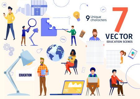University Students Learning Trendy Flat Vector Scenes Set. Multinational Students Listening Lecture, Working on Laptop, Writing Test, Searching Information Online, Using Cellphone Illustrations