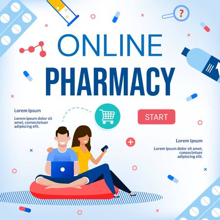 Online Pharmacy Drugstore Medical Care E-Commerce Webpage. Happy People Family Couple Using Laptop and Mobile Application Health Care Service. Buy, Pay, Delivery Order Pills, Vitamin via Internet