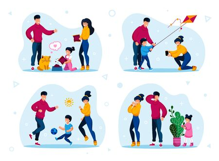 Family Healthy Lifestyle, Home Games and Activities Trendy Flat Vector Concept Set. Parents with Children Feeding Cat, Launching Kite, Playing Football and Hide-and-Seek Together Isolated Illustration
