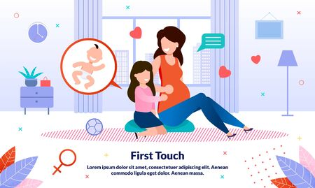 Happy Maternity and Family Relation in Pregnancy Trendy Flat Vector Banner, Poster Template. Pregnant Woman Talking with Little Daughter, Mother Explaining Child About Pregnancy and Birth Illustration Ilustração