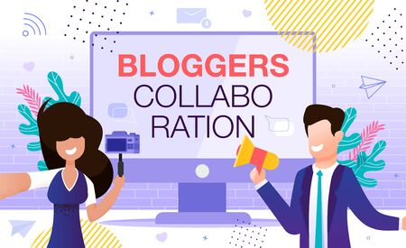 Male and Female Social Media Network Blogger Vlogger Collaboration. Interview, Podcast, Sharing Ideas, Video Recording for Common Channel. Co-Marketing Strategy and Online Partnership Campaign