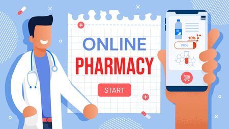 Online Medical Services for Sick Patient Treatment. Pharmaceutical Drugs Prescription via Internet, Medication Dose Control through Mobile Application. Friendly Pharmacist and Human Hand Holding Phone