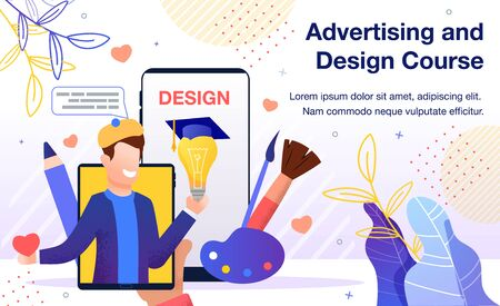 Graphic Design Online Course, Art Workshop Seminar, Distance Education Service Advertising Banner, Promotion Poster. Man Studying Painting, Artist Teaching Student Trendy Flat Vector Illustration