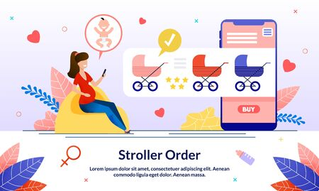 Shopping Stuff for Baby During Pregnancy Trendy Flat Vector Banner, Poster Template. Pregnant Woman Shopping Online, Lady Choosing and Ordering Goods for Child, Buying Stroller or Tram Illustration
