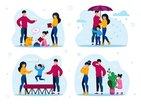 Family Outdoor Activities and Home Hobby Trendy Flat Vector Concepts Set. Parents and Child Feeding Cat, Walking Outside in Rain, Jumping on Trampoline, Playing in Hide-and-Seek Isolated Illustrations