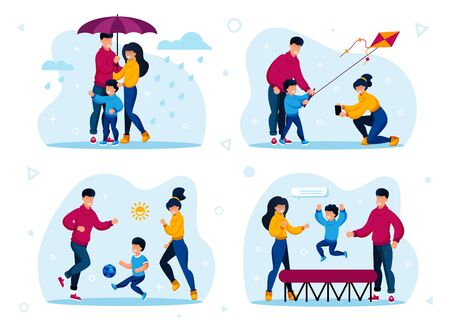 Healthy Family Outdoor Activities, Active Leisure Trendy Flat Vectors Set. Parents with Children Walking Under Umbrella in Rain, Launching Kite, Playing Soccer, Jumping on Trampoline Illustrations 일러스트
