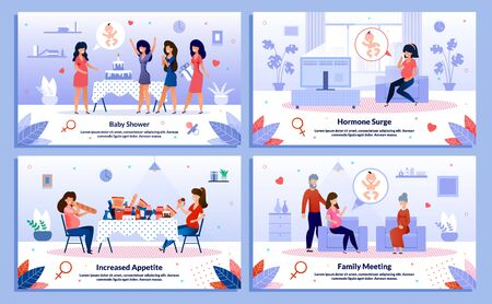 Baby Shower Celebration, Pregnant Woman Family Support, Hormone Surge Trendy Flat Vector Banner, Poster Set. Lady Having Fun on Party, Feels Sweaty, Eating Unhealthy Food, Meets Relatives Illustration 向量圖像