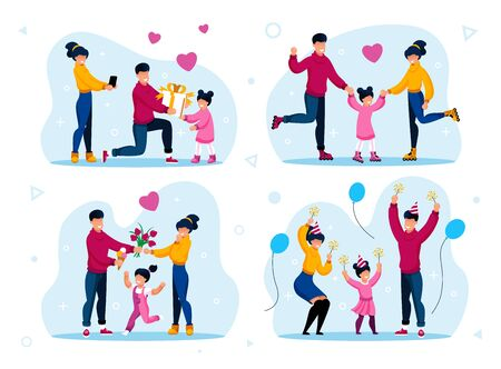 Family Happy and Positive Moments Memories Trendy Flat Vector Concepts Set. Parents Celebrating Little Daughters Birthday, Riding Roller-Skates, Spending Holiday Time Together Isolated Illustrations