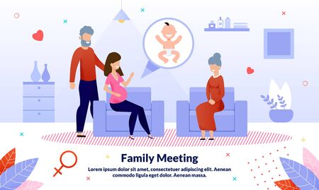 Family Relationships, Relatives Meeting and Conversation During Pregnancy Trendy Flat Vector Banner, Poster Template. Pregnant Woman and Husband Meeting with Mother or Grandmother at Home Illustration