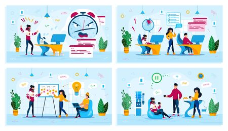 Office Communication, IT Project Development, Ideas Brainstorming, Stress on Work Trendy Flat Vector Concepts Set. Coworkers on Lunch, Web Developers Meeting, Freelancer Failing Deadline Illustration