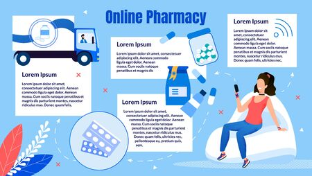Online Pharmacy Service, Pills and Medicines Shopping, Drugs Delivery Trendy Flat Vector Ad Banner, Promo Banner or Infographics Template. Woman with Cellphone Buying Pills in Internet Illustration