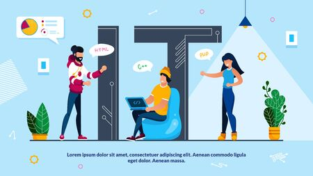 IT Capital Letter Word with Tiny People. IT Specialist, Network Administrator, Internet Technology Solution Developer, Technical Engineer, Programmer Team. Promotion Poster. Vector Illustration Ilustracja