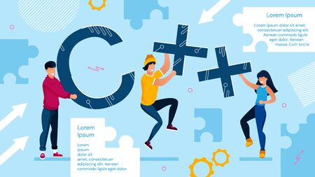 C Programming Tech Language Advertisement Poster. Computing and Coding Software Technology. Freelancer Programmer, Technical Engineer Man Woman People Holding Capital Letter. Vector Illustration