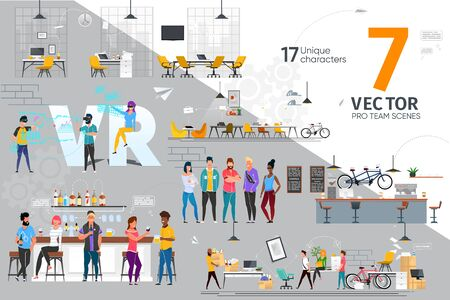 IT Industry Professionals Team Life Trendy Flat Vector Scenes Set. Female, Male Programmers, Software Developers, Game Development Company Designers Working in Office, Resting in Bar Illustrations Vecteurs