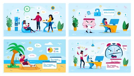 Online Security, Work Stress, Office Communication, Freelancer Vacation Trendy Flat Vector Concepts Set. Coworkers on Break, Trojan Stealing Data, Freelancer Fails Deadline, Lies on Beach Illustration