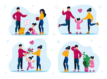 Family Recreation Activities, Happy Childhood Trendy Flat Vector Concepts Set. Parents with Children Roller-Skating, Spending Time Together, Feeding Cat, Playing in Hide-and-Seek Isolated Illustration Vettoriali