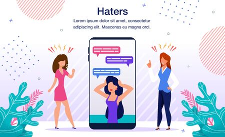 Social Network Haters Bulling, Blogger Audience Negative Reaction, Reputation Attack Banner, Poster. Woman Worried, Stressed Because of Bad Relations with Colleagues Trendy Flat Vector Illustration