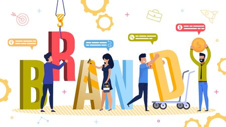 Brand Development and Auxiliary Tool, Resource. Businesspeople Engaged in Capital Letter Constructing in Word Using Different Instrument for Branding Promotion. Teamwork. Vector Illustration