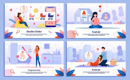 Healthy Lifestyle, Leisure in Pregnancy, Pregnancy Test, Shopping for Baby Trendy Flat Vector Banner, Poster Set. Lady Buying Pram, Meditating Outdoor, Looking on Tester, Going on Picnic Illustration