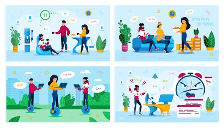Software Developers Life and Leisure Trendy Flat Vector Concepts Set. IT Team on Coffee Break, Programmers Gathering at Home, Freelancers Working in Park, Developer Fails Project Deadline Illustration Illusztráció