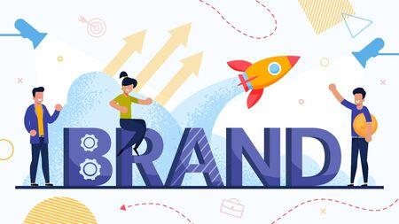 Businesspeople and Brand Startup Launch Poster. Tiny People, Capital Letter, Rocket Taking Off, Growth Arrow, Spotlight Design. Team Use Branding Technology. Partner Invest Money. Vector Illustration Vektorgrafik