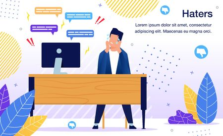 Online Entrepreneur, Social Network User or Blogger Worrying Because of Haters Attack, Customer or Client Bad Review, People Unpleasant Comment Online Banner, Poster Trendy Flat Vector Illustration