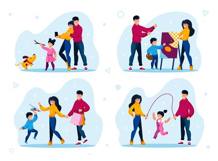 Happy Family Life Situations, Parenthood Worries, Child Education Trendy Flat Vectors Set. Parents and Child Walking with Pet, Drawing Painting, Jumping on Rope, Shopping Together Illustrations 矢量图像