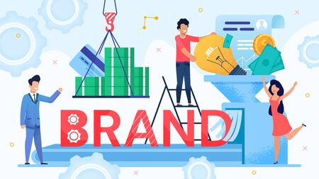 Brand Development and Marketing Funnel Design. Marketer Team Use Branding Tool and Resource as Money, Idea, Labor Investment for Trademark Promotion. Leader Control Process. Vector Illustration