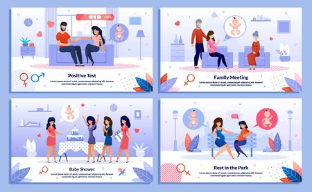 Pregnancy Test, Pregnant Woman Support and Leisure Trendy Flat Vector Banner, Poster Set. Lady Telling Husband About Pregnancy, Meets with Relatives, Having Fun on Party, Resting in Park Illustration