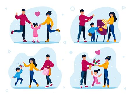 Happy Childhood Moments, Responsible Parenthood Scenes Trendy Flat Vector Concepts Set. Parents with Children Rollerskating, Learning to Draw Painting, Shopping and Spending Time Together Illustration Illustration