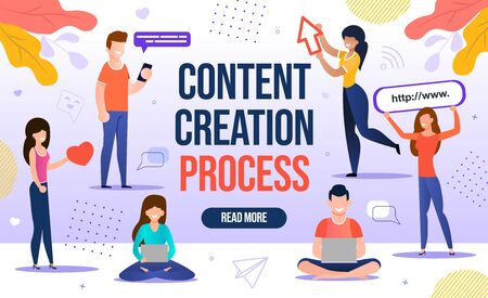 People Engaged in Content Creation Workflow Process. Digital Marketing for Blogging and Social Media Network for Blog Online Channel Development, Followers and Subscribers Attraction. Content-plan