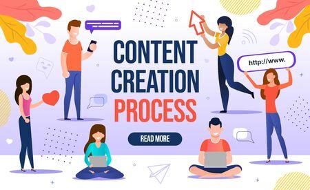 Personnes engagées dans le processus de workflow de création de contenu. Marketing numérique pour les blogs et réseau de médias sociaux pour le développement de canaux en ligne de blogs, l'attraction des abonnés et des abonnés. Contenu-plan
